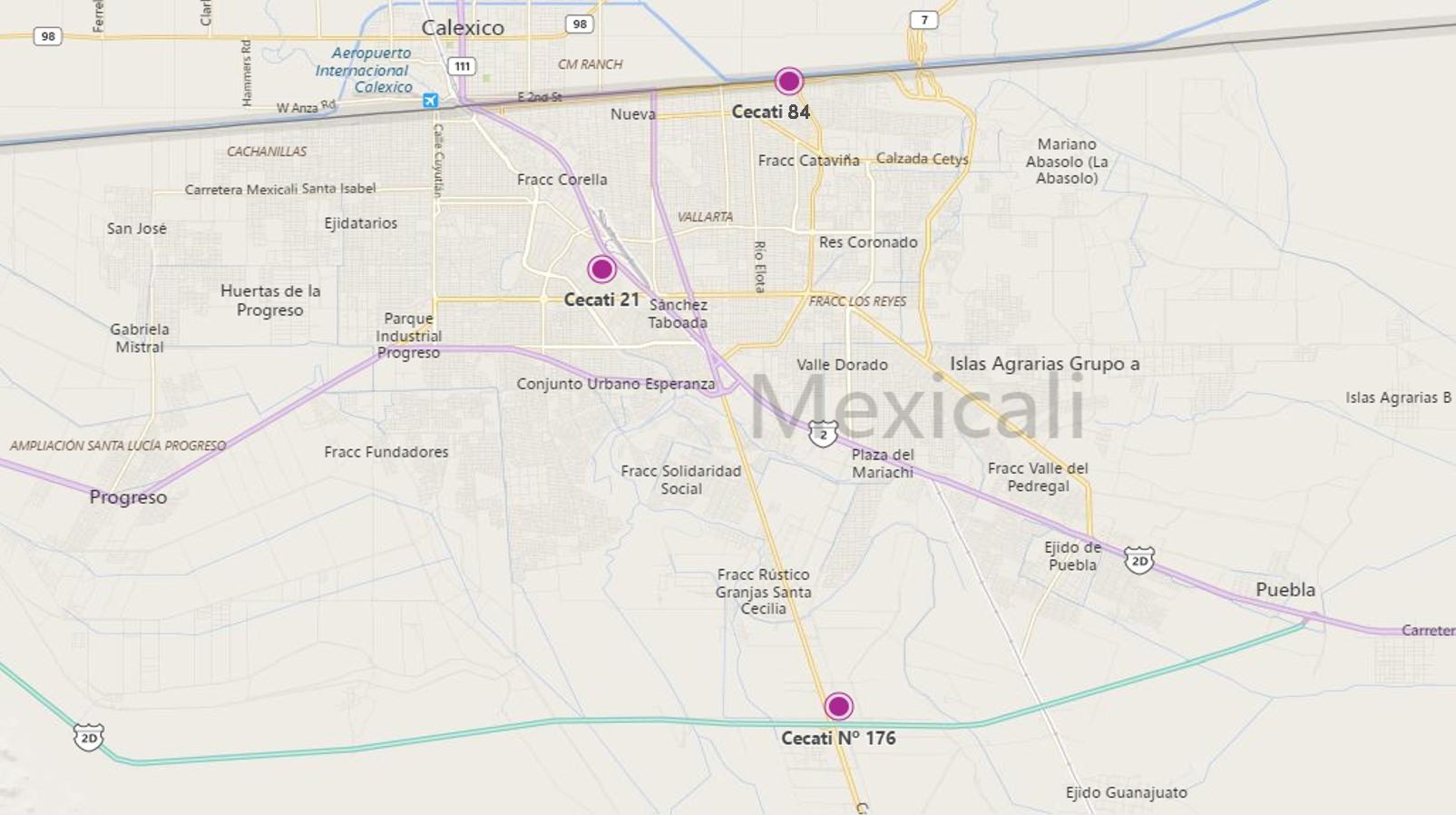 mapa CECATI MEXICALI